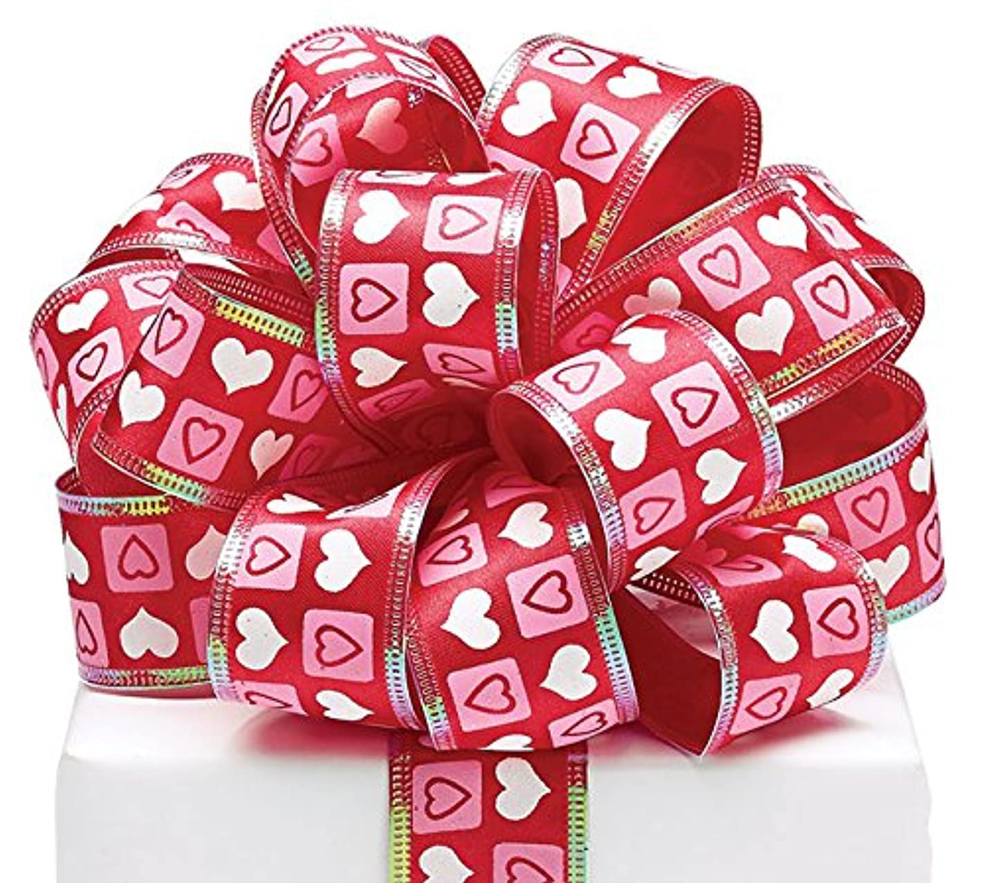 Burton & Burton Pink/White Heart On Red Wired Ribbon
