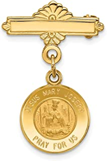 14k Yellow Gold Holy Family Medal Pendant Charm Necklace Pin Religious Fine Jewelry For Women