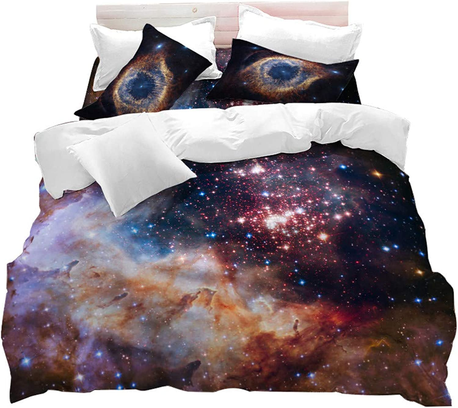 Duvet Cover Twin Size,3D Galaxy Quilt Cover Set,3 Pieces Cloud Stars Printed Bedding Set,for Decorations of Bedroom Kids Boys Astronomy Fans
