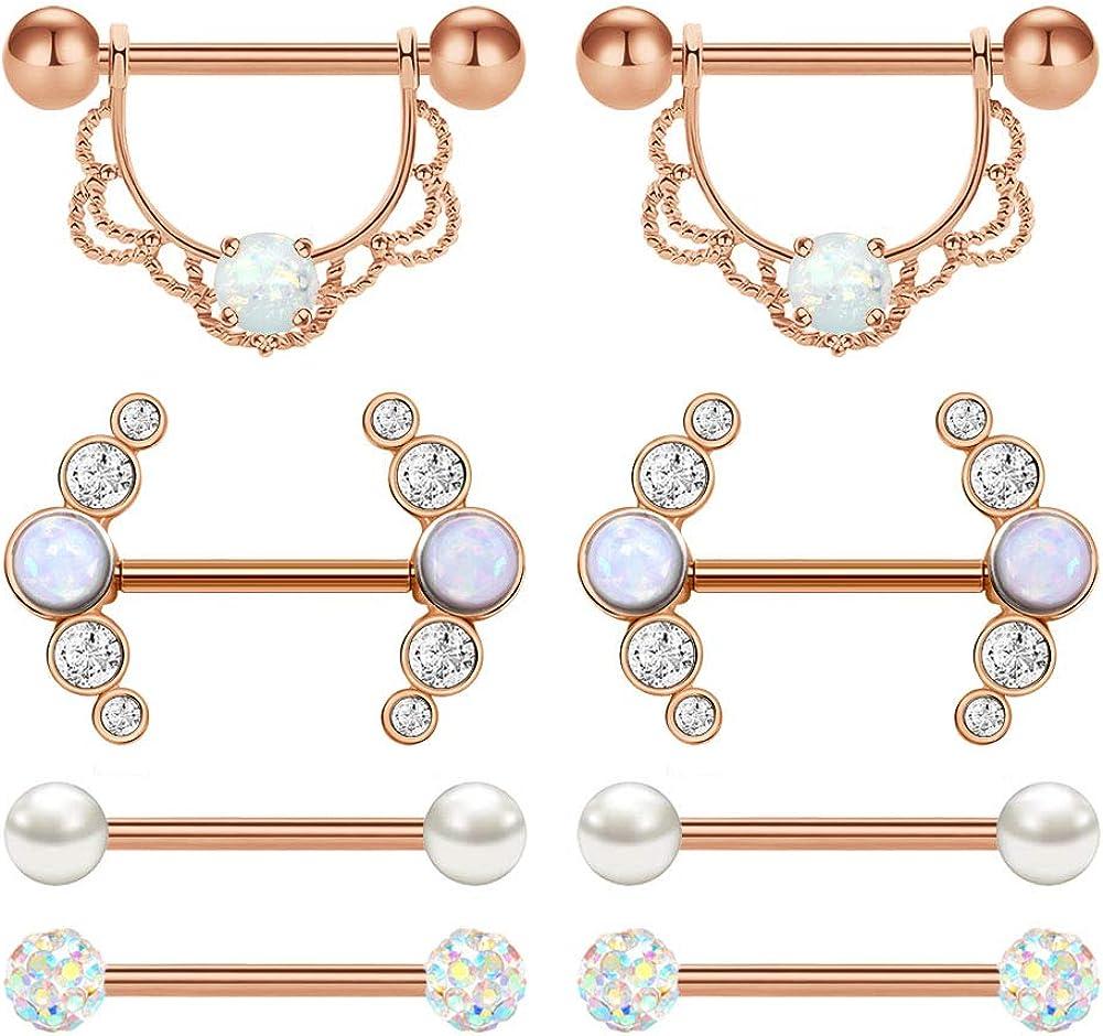 AVYRING Nipple Rings Nipplerings Piercing Women Jewelry Surgical Steel Nipple Shield Nipple Barbells 14g