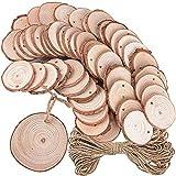 50pcs 5-6cm Rodajas de Madera + 10m Cuerda de Cáñamo para Manualidades Pintar Colgar Llaveros Bricolaje Posavasos Artesanías Decoraciones Navidad Hogar Adornos