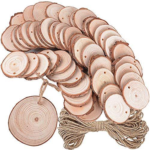 50 Stück Holzscheiben 5-6cm rund + 10 Meter Juteschnur Holz Deko Basteln Baumscheiben Natur zum Basteln Bemalen für DIY Handgemachte Hochzeit Handwerk Weihnachten Dekoration