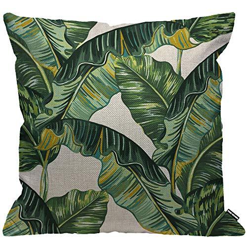 HGOD Designs Kissenbezug, Bananenblätter, tropische Blätter, Dschungelblätter, Heimdekoration für Männer/Frauen, Wohnzimmer, Schlafzimmer, Sofa, Stuhl, 45 x 45 cm