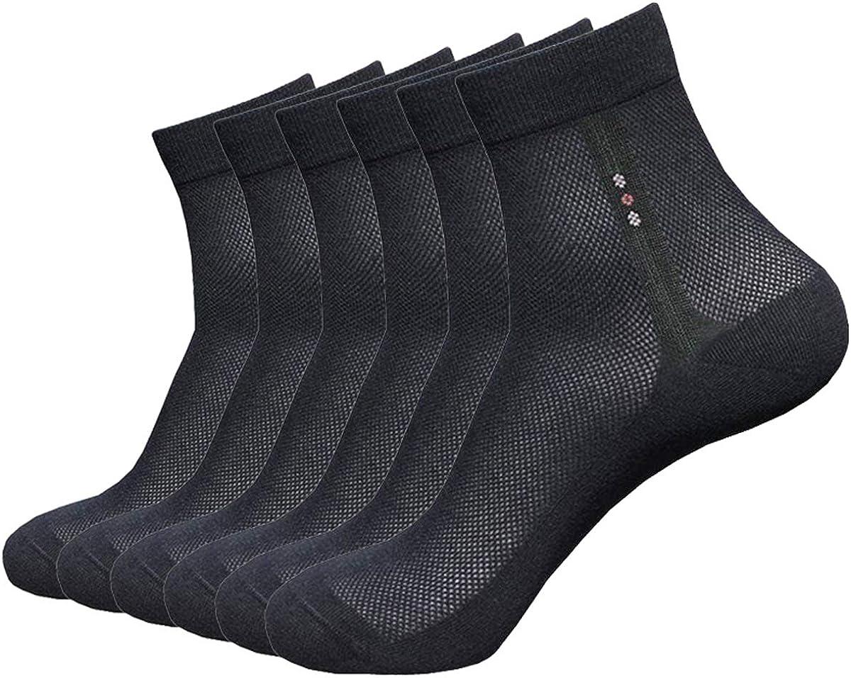 6 Pack Mens Ultra Thin Breathable Socks Summer Mesh Cotton Business Dress Sock