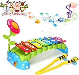 HOMOFY Baby Toys Xylophone for Kids Rainbow Bridge with 8 Bright Multi-Colored Keys and Two Mallets,One Flower,The Best Musical Instrument Toys for Boys and Girls (Rainbow Garden)