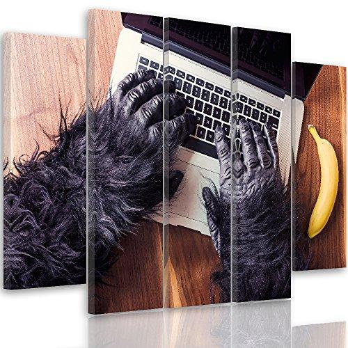 Feeby. Foto op canvas - 5 delen - afbeeldingen, wandafbeelding, wandafbeeldingen, kunstdruk XXL, 5-delig, AFFE, Banane, HANDE, computer, laptop, toetsenbord, bureau, ZWART B type, 300x140 cm