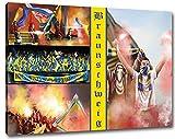 Ultras Braunschweig, Bild auf Leinwand XXL , fertig