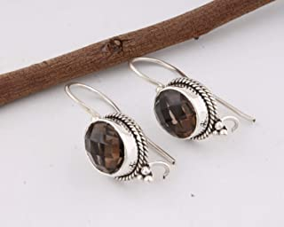 925 Sterling Silver Earrings with Smoky Quartz