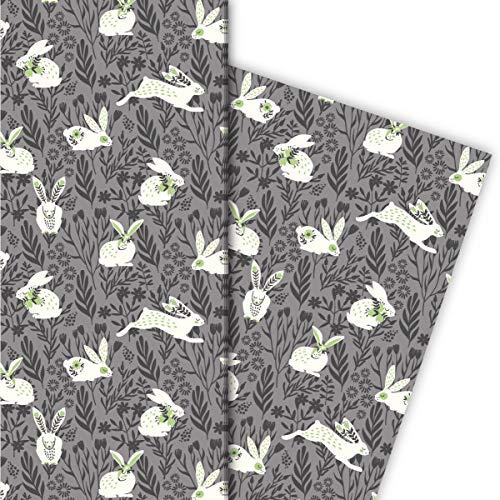 Kartenkaufrausch Niedliches Frühlings Oster Geschenkpapier Set Hasen im Gras, grau • Geschenk Verpackung zum Einpacken 32 x 48cm, zu Ostern Weihnachten Geburtstag, universal Geschenkpapier