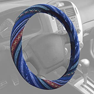 """BDK Blue Woven Saddle Blanket Steering Wheel Cover for Cars SUV Van Truck Auto - Driver Grip 15"""""""