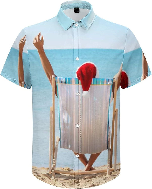 Men's Short Sleeve Button Down Shirt Happy Couple Celebrating Christmas Summer Shirts