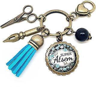 Porte clés - bijou de sac Atsem - Bronze et cabochon verre illustré Super Atsem - idée cadeau ATSEM, cadeau fin d'année sc...