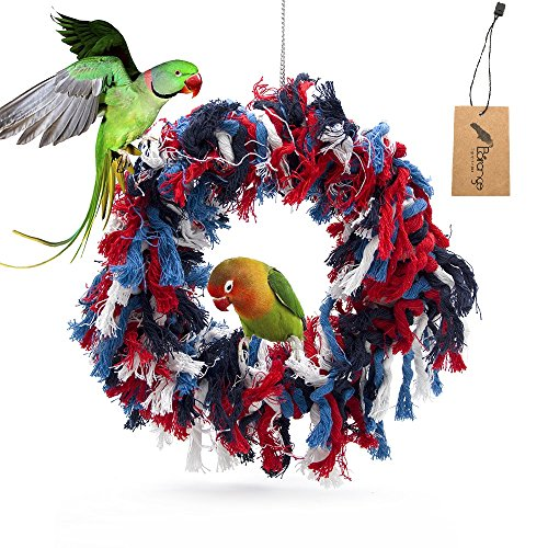 Borangs Bird Toys Parrot Shredding Toys Birds Cotton Preening Grooming Ropes Colorful Hanging Swing Snuggle Ring Toy Bird Cage Accessories for African Grey Cockatoos Conure Parakeet Quaker, 12 inch