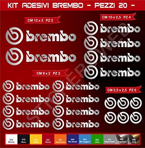 Pimastickerslab Aufkleber Stickers BREMBO -Motorrad- Cod. 0576 (Argento cod. 090)