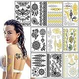 Tatuaggi Temporane metallico per donna bambini adulti, impermeabile Tatuaggio Temporaneo, Moda in oro argento Sticker Body Art Boho Tattoo, Removibili Flash Adesivi Gioielli tattoo 21cm*15cm