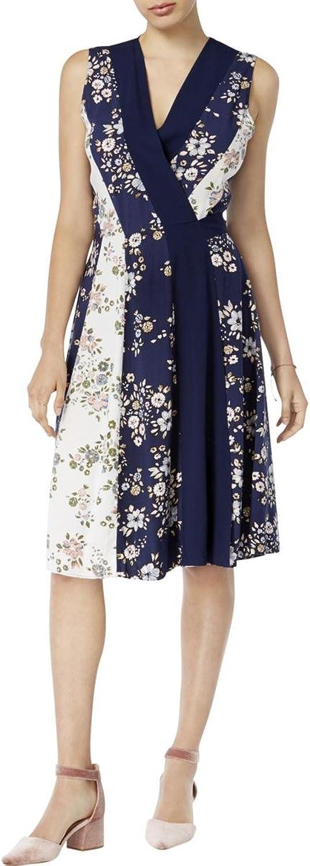 Maison Jules Womens Floral Print Sleeveless Wrap Dress