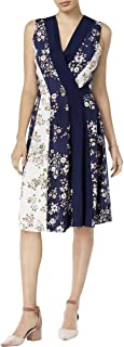 Womens Floral Print Sleeveless Wrap Dress