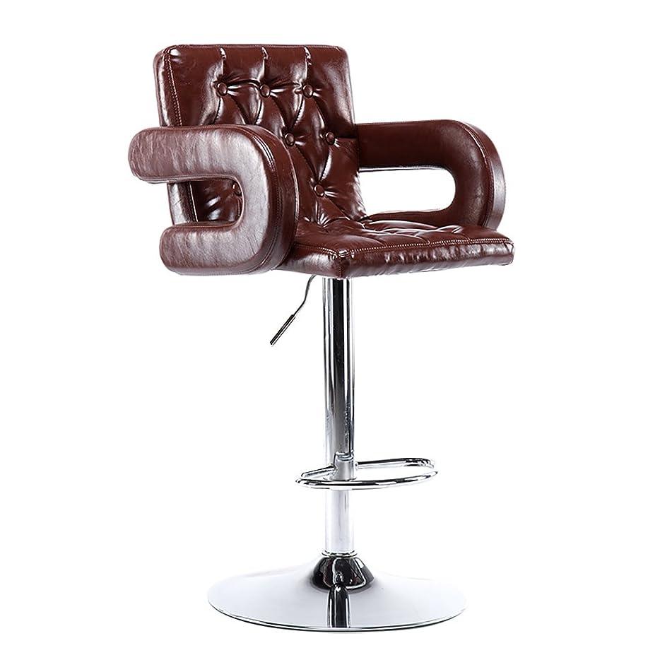 ランチョン許されるかんがい毎日の家 多機能スイベルチェア、美容ローラースツール、調節可能な高さ、ホイール付き、360度回転、快適な椅子、アームレスト付き、最大荷重150kg (色 : ブラウン-2, サイズ さいず : BEST)