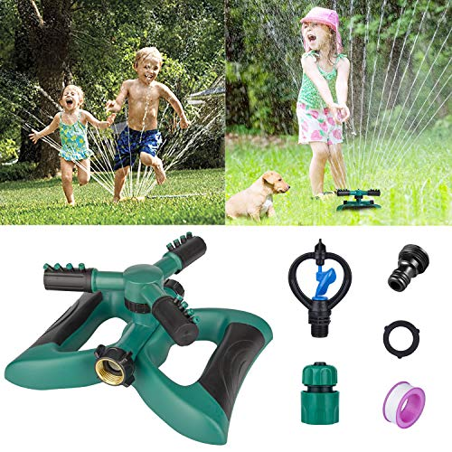 Morfone Lawn Sprinkler, Garden Sprinkler Automatic 360° Rotating Irrigation System Water Sprinklers for Garden, Yards, Kids, 3600 Square Feet Coverage