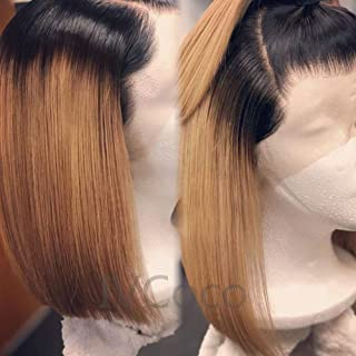 """IVCoco 14""""Brazilian Straight Bob Lace Front Wig Human Hair with Baby Hair Pre Plucked Hairline Glueless Blonde Bob Ombre Brown Lace Frontal Wigs for Women 100%Unprocessed Virgin Dark Root Colored Wigs"""