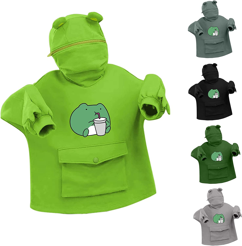 ORT Cute Sweatshirt for Womens Teens Girls Animal Cosplay Hoody Top Anime Hoodie Kawaii Jumper Comfy Sweater with Big Pocket
