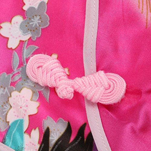 Generic Robe Chinoise Qipao Mode Cheongsam Classique Décor de Paon Fleur Costume de Fête pour Filles Enfants - Rhodo #1, 2