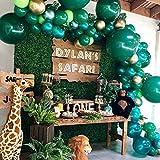 NOGJKS Jungle Décorations Anniversaire Jungle Theme Tropicale Guirlande de Ballon Blancs Arc de Ballon , 169pcs, Ballon Vert Or,Feuilles de Palmier, Décorations de Fête de Mariage