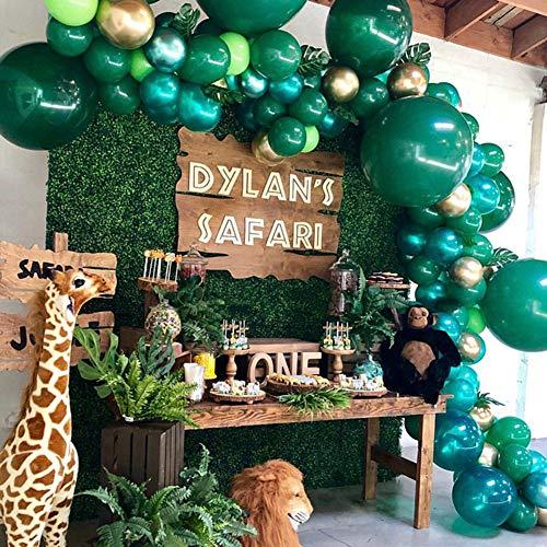 NOGJKS Jungle Theme Party Sommer Tropical Party,Ballon Bogen Girlande 169 weiße, Luftballons Grün goldene,Heliumluftballons Tropische Palmblätter für Geburtstag, Babyparty, Weihnachtsdekoration