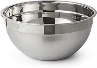 Stainless Steel Mixing Bowl - 4.5qt - Flat Bottom Non Slip Base, Retains Temperature, Dishwasher Safe - By Bovado USA