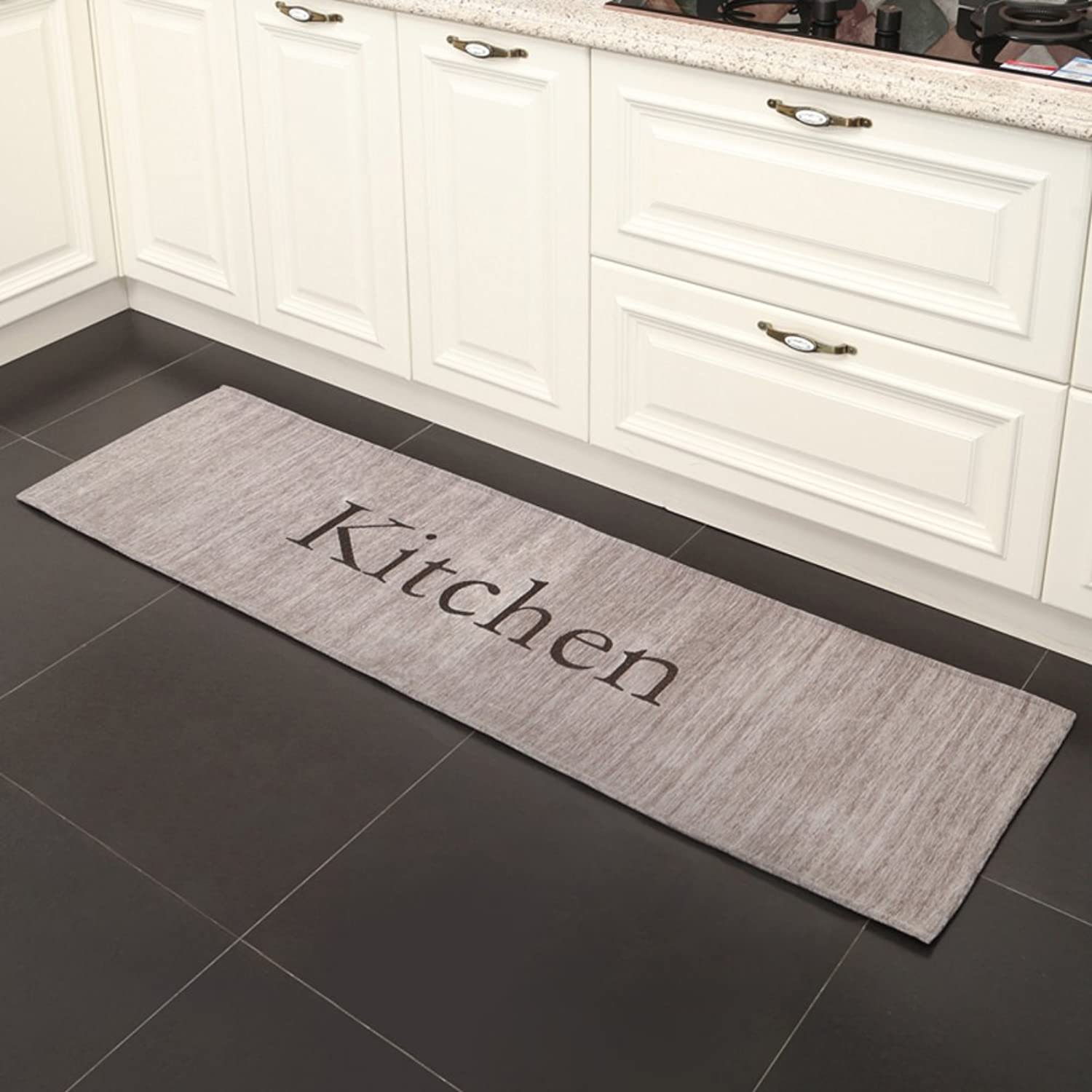 Kitchen Long Water Absorbent Non-Slip Cushion Grey Carpet Durable Small Carpet with Non-Slip-A 50x80cm(20x31inch)