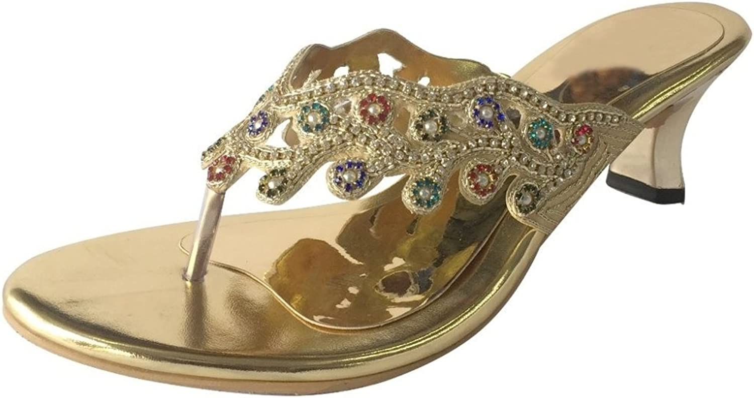 Step n Style Ladies gold Multi Embroidery Ethnic Bridal Party Slip-On