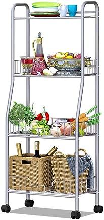 LWKBE Classics Wire Rack Shelf 4-Tier Metal Organizer Shelving Unit  Household Storage Cart Workstation Shelf Wheels  19 quot  13 8 quot  x47 6 quot