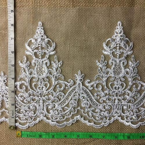080d4be25a0 Bridal Veil Lace Trim Gorgeous Elegant Alencon Embroidered Corded Sequined  Mesh