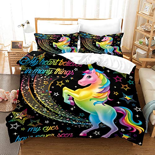 MUSOLEI Rainbow Unicorn Duvet Cover Kids bedding set unicorn Black Quilt Cover,Zipper/Soft (Double) With Pillowcase