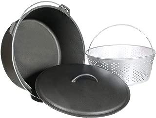 Cajun Classic 20-Quart Unseasoned Cast Iron Dutch Oven With Fry Basket - GL10491WB