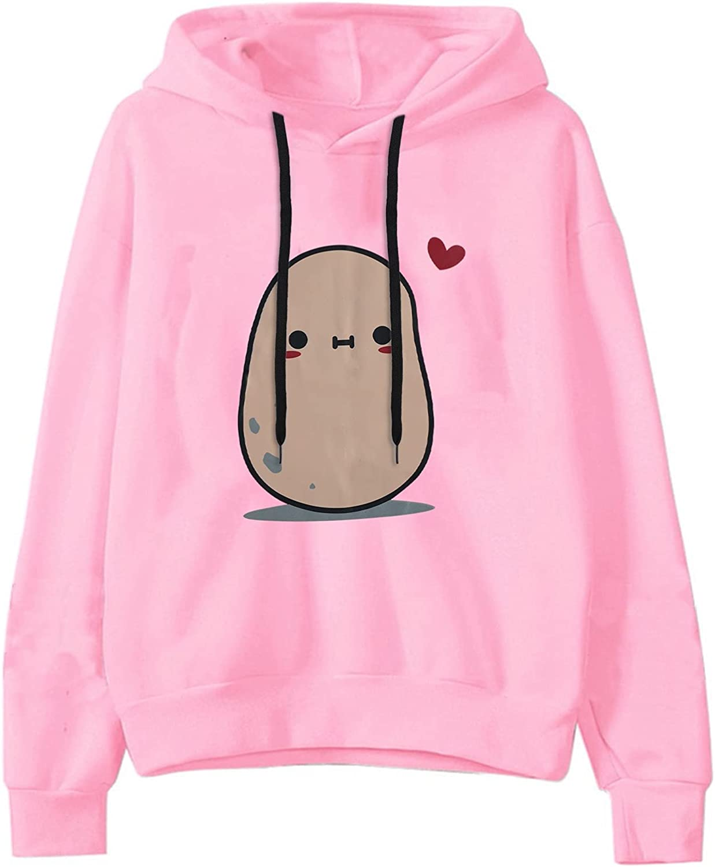 Womens Hoodies,Womens Sweatshirt Cartoon Kawaii Potato Print Teen Girls Long Sleeve Drawstring Hoodie Pullover