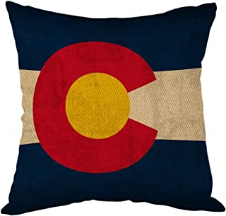 Moslion Vintage Colorado State Flag Pillow,Home Decor Throw Pillow Cover Cotton Linen Cushion for Couch/Sofa/Bedroom/Livingroom/Kitchen/Car 18 x 18 inch Square Pillow case