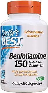 Doctor's Best Benfotiamine, Non-GMO, Vegan, Gluten Free, Soy Free, Helps Maintain Blood Sugar Levels, 150 mg, 360 Veggie C...