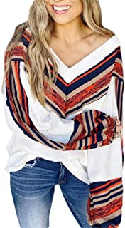 HEFASDM Women's Blouse Long Sleeve Casual Weekend Floral Printed V-Neck T-Shirt