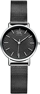 SHENGKE Ladies Watch Stainless Steel Mesh Strap Japan Quartz Movement Waterproof Watches for Women Reloj de Mujer