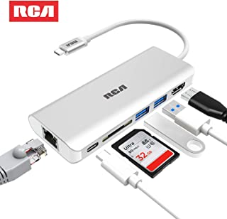 USB C Hub, RCA 6 in 1 Type C Hub with Ethernet, 4K HDMI, 2 USB 3.0 Ports, SD Card Reader, USB C Power Delivery, Portable hub for MacBook Pro and Other Type C Laptops