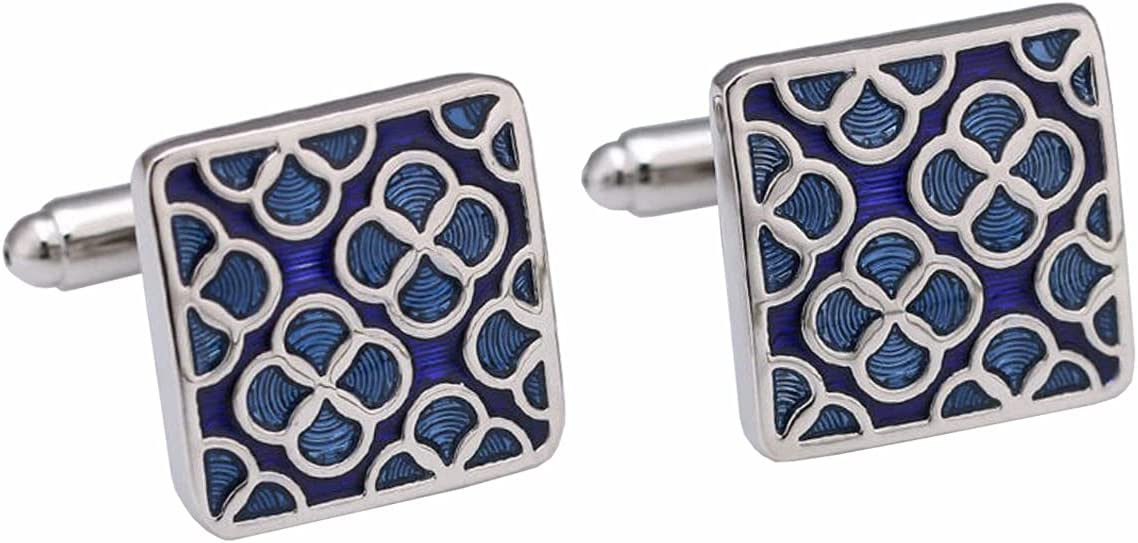BO LAI DE Men's Cufflinks Square Blue Pattern Enamel Cufflinks Shirt Cufflinks Suitable for Business Meetings and Prom Events, with Gift Box