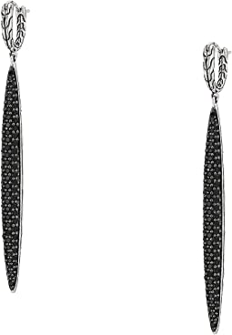 Classic Chain Drop Earrings with Black Sapphire and Black Spinel