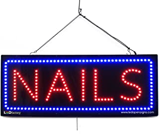 Large LED Window Beauty Salon Sign - Nails - Extra Bright LEDs - Can Be Seen Through Tinted Windows - Extra Large - 32 inches Wide (#2716)