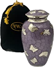 Large Lavender Butterfly Cremation Urn with Velvet Bag