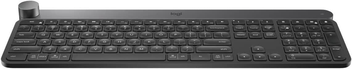 Logitech Craft Advanced Wireless Keyboard with Creative Input Dial and Backlit Keys, Dark grey and aluminum