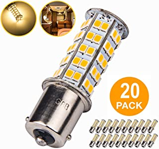 20 Pcs Extremely Super Bright 1156 1141 1003 BA15S 68-SMD LED Replacement Light Bulbs for RV Indoor Lights(20-Pack, Warm White (3000K-3500K Color Temputure))