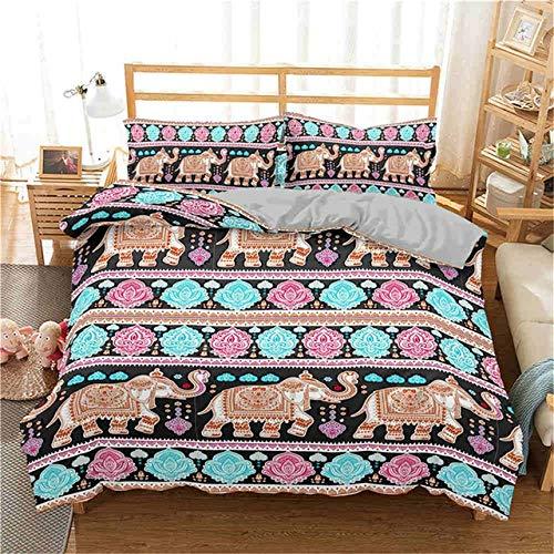 Storage Jar Patrón del lecho de Boho del Elefante de la Vendimia de la India Funda nórdica Rey Queen Comforter Bedding Ropa de Cama de Microfibra (Color : 3, Size : US Queen 228x228cm)
