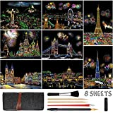 Scratch Art for Kids Adults, Rainbow Painting Night View Scratchboard(A4), Crafts Set: 8 Sheets Scratch Cards with 6 tools in Bag - Fireworks, Big Ben, Cristo Redentor, Ferris Wheel(Landmark Building)