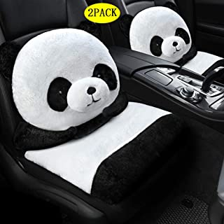 SanQing H Car Seat Cover for Front Seat, Cute Cartoon 3D Modeling, Winter Soft Warm Seat Cushion Cover Fits Most Car, Truck, SUV,Panda,2PACK